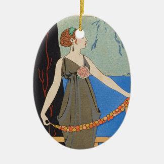 De Dame die van het art deco - zich voorbij het Keramisch Ovaal Ornament