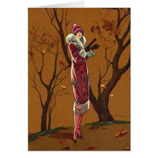 De Dame van de herfst, Wenskaart