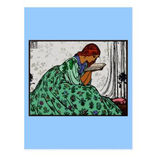 De Dame van de roodharige in een Groene Lezing van Briefkaart