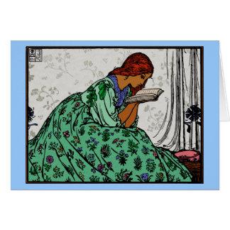 De Dame van de roodharige in een Groene Lezing van Kaart