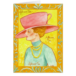 De Dame van de Thee van de middag Briefkaarten 0
