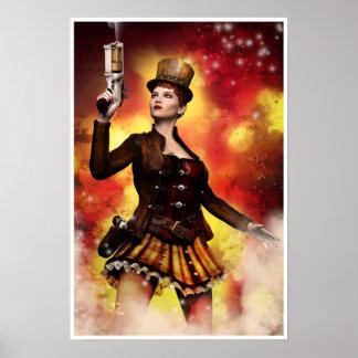 De Dame van Steampunk Poster