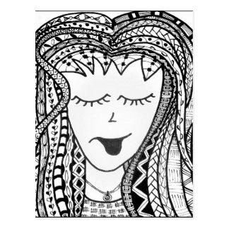 De Dame van Zentangle Wens Kaart