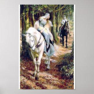 de damebos van het ridder wit paard poster