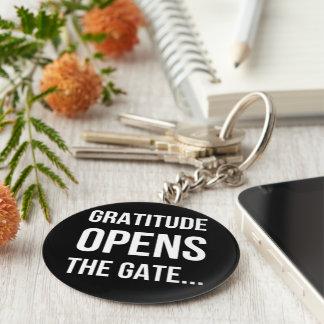 De dankbaarheid opent het inspirerend citaat van sleutelhanger