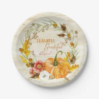 De dankbare Dankbare Heilige Pompoen van de Oogst Papieren Bordje