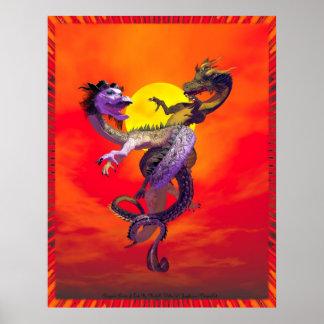De Dans van draken van Liefde door Michelle Wilder Poster