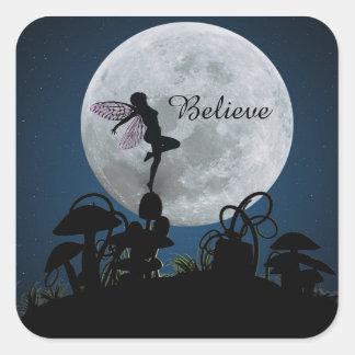 De dans van het maanlicht gelooft feestickers vierkante sticker