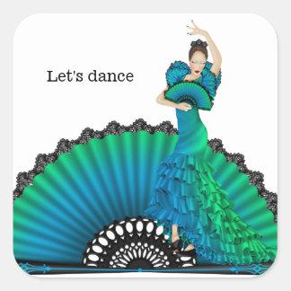 De danser van het flamenco vierkante sticker