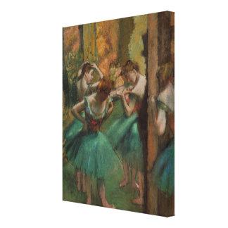 De Dansers Roze en Groen Edgar Degas van het Canvas Afdruk