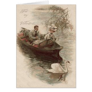 De Datum van de Boot van de Zwaan van het paar Briefkaarten 0
