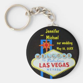 De Datum van het Huwelijk van Las Vegas Basic Ronde Button Sleutelhanger