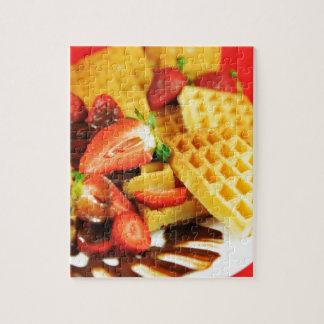 De de Belgische wafel en aardbeien van de Legpuzzel