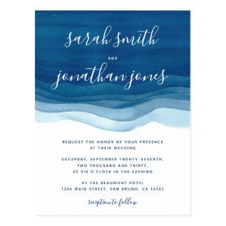 De de blauwe Golven van de Waterverf & Uitnodiging Briefkaart