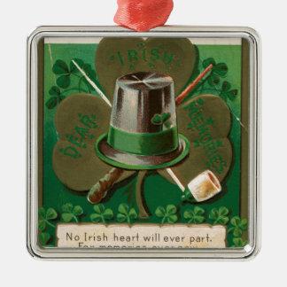 De de dagklaver van Patrick van VintageSaint erin Zilverkleurig Vierkant Ornament
