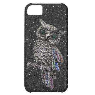 De de gedrukte Zilveren Uil & Zwarte van Juwelen iPhone 5C Hoesje