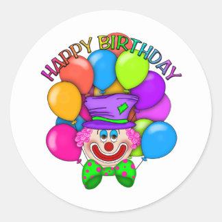De de gelukkige Clown en Ballons van de Verjaardag Ronde Sticker