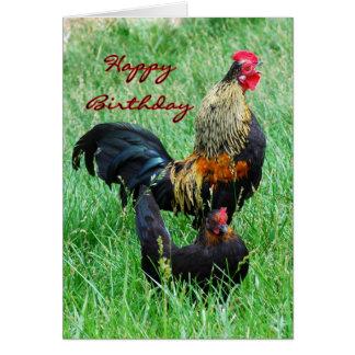 De de gelukkige Haan en Kip van de Verjaardag Briefkaarten 0