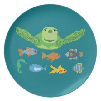 De de gelukkige Schildpad en Vissen die van het Bord