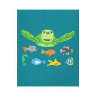 De de gelukkige Schildpad en Vissen die van het Canvas Print