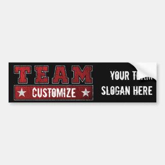 De de klantgerichte Naam en Slogan van het Team Bumpersticker