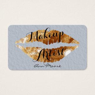 De de kunstenaarsstilist van de make-up maakt visitekaartjes
