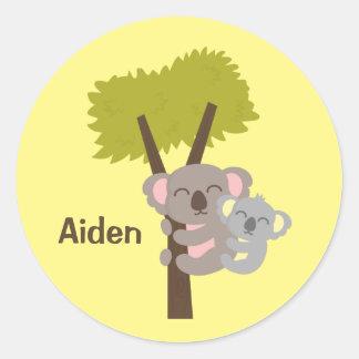 De de leuke Koala en Mama van het Baby voor Kind Ronde Stickers