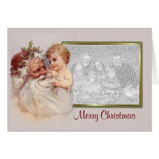De de oude Kerstman & Cherubijn van de Wereld - Wenskaart