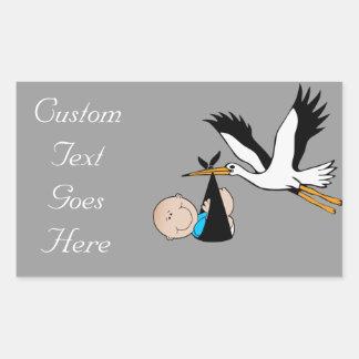 De de pasgeboren Jongen en Ooievaar van het Baby Rechthoekige Sticker