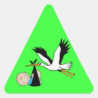 De de pasgeboren Jongen en Ooievaar van het Baby Driehoekige Stickers