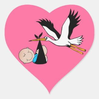 De de pasgeboren Jongen en Ooievaar van het Baby Hartvormige Stickers