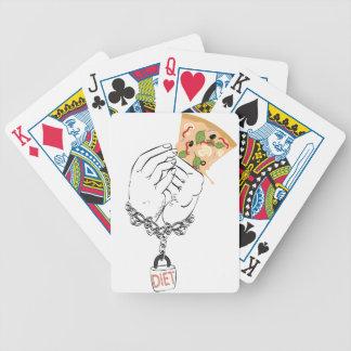 De de Smakelijke Pizza en Handen van de cartoon Poker Kaarten
