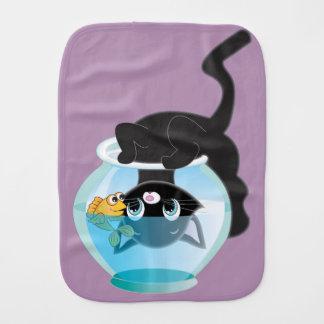De de speelse Kat van de Cartoon en Kom van Vissen Spuugdoekjes