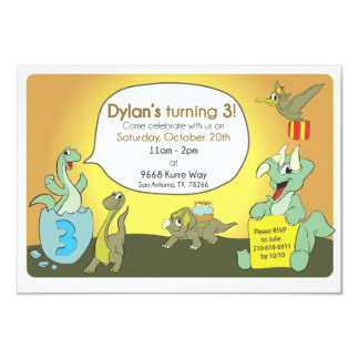 De de verjaardagspartij van de dinosaurus nodigt 8,9x12,7 uitnodiging kaart
