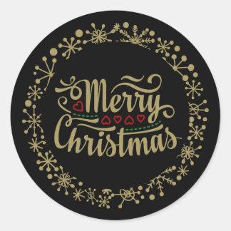 De de vrolijke Sneeuwvlok van Kerstmis en Stickers