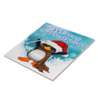 De de vrolijke Tegel/Treeft van de Pinguïn van Tegeltje Vierkant Large
