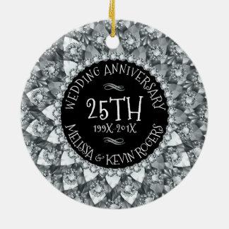 de de Witte Diamanten en Zwarte van het 25ste Rond Keramisch Ornament