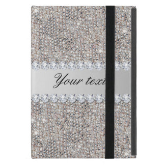 De de Zilveren Lovertjes en Diamanten van Faux iPad Mini Hoesje