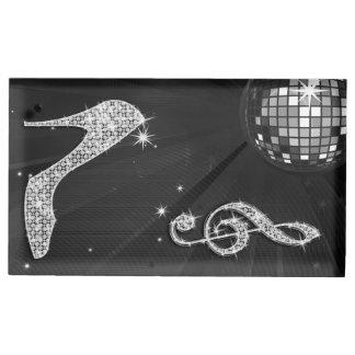 De de zwarte Bal en Stiletto van de Disco Tafelkaart Houder