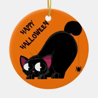 De de Zwarte Kat en Spin van Halloween Rond Keramisch Ornament