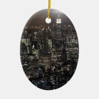 De Decoratie van de Herinnering van New York van Keramisch Ovaal Ornament