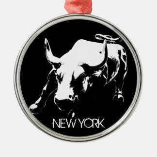 De Decoratie van de Herinnering van New York van Zilverkleurig Rond Ornament