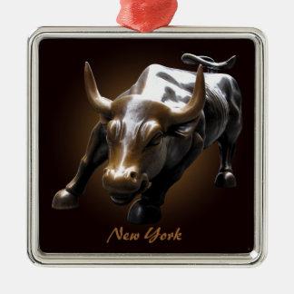 De Decoratie van de Herinnering van New York van Zilverkleurig Vierkant Ornament