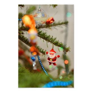 De decoratie van de Kerstboom van de Kerstman Foto Print