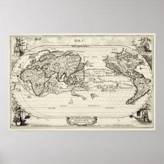 De decoratieve Kaart van de Wereld van de 16de Poster
