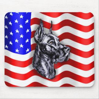 De Deen Zwarte Mousepad van de patriot Muismat