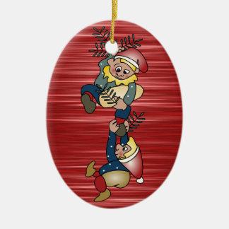 De Deense Elf van Kerstmis Keramisch Ovaal Ornament