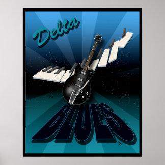De delta Gitaar en Toetsenbord Starburst van Blauw Poster