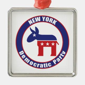 De Democratische Partij van New York Zilverkleurig Vierkant Ornament