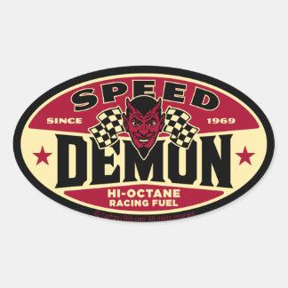 De Demon van de snelheid 003B Ovale Stickers